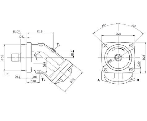 Гидромотор Bosch Rexroth A2FM107 схема